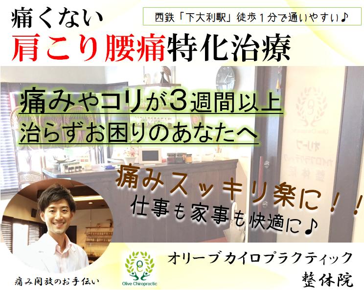 福岡 大野城市 整体|腰痛 肩こり 心の悩みなら下大利駅すぐオリーブカイロ